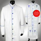 Clergy Robe Solid White Blue Piping Full Length Preacher Retail $200
