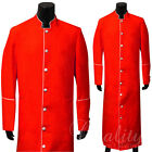 Clergy Robe Solid Red White Piping Cassock Full Length Preacher Retail $200