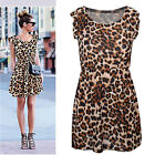CHIC Women Fashion Leopard Casual Evening Cocktail Party Mini Dress Summer Dress