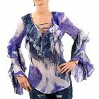 RA-RE Donna Camicetta Tunica Carole Georgette Blue