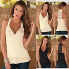 Fashion Women Summer Lace Vest Sleeveless Casual Halter Tank Tops Blouse Shirts