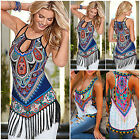 New Fashion Sexy Women Summer Casual Boho Sleeveless Tassel Vest Shirt Tank Tops