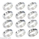Gift New Fashion Unisex Women Men Crystal Silver Zodiac Titanium Steel Ring