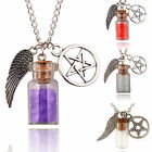CHIC Supernatural Protection Necklace Wing Pentagram Salt & Burn Bottle Pendant