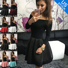 Womens One Shoulder Skirt Dress Lace Skater Ladies Party Sexy Dress