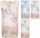 Womens Plus Mesh Layered Top Ladies Butterfly Print Lined Sleeveless Vest 14-20