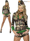 Ladies Fever Combat Chick Costume Adults Army Girl Fancy Dress Womens Soldier
