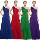 Formal Flower Long One Shoulder Pleated Party Gown Sexy Prom Ball Evening Dress