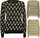 New Womens Cross Pattern Top Long Sleeve Ladies Knitted Sweater Jumper 8 - 14