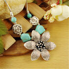 Women Vintage Jewelry Silver Plated Turquoise Beads Pendant Necklace Gift Mother