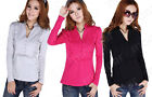 2016 Womens Casual Cotton Long Sleeve Shirt Lace Blouse Slim Tops T Shirt