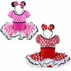 Vintage Minnie Mouse HALLOWEEN Girl Polka Dot Party Tutu Costume + Ear Headband
