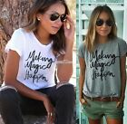 Sexy Womens Summer Letters printed round neck short sleeve T-shirt Blouse