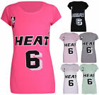 Womens Heat 6 Printed Ladies Short Sleeve Jersey Stretch Basketball T-Shirt Top
