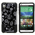 For HTC Desire 816| Hybrid Hard Bumper Stand Case Black White Flowers