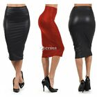 FASHION WOMEN PLUS SIZE FAUX LESTHER SHIRT BODYCON PENCIL MINI DRESS HIGHT WAIST