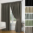 Basket Weave Blackout Thermal Ready Made Pencil Pleat Curtains With Tiebacks