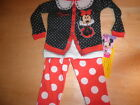 New Girls Toddler Minnie Mouse Red Black Sleepwear Pajamas 12M 24M 3T 4T 5T