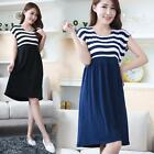 Casual Cotton Maternity Clothes Plus Size Ladies Stripe Pregnant  Dress Nice 525