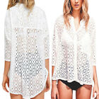 Women Summer Lace Sexy White Hollow-out 3/4 Sleeved Top Floral Cover-up