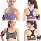 Women Yoga Fitness Stretch Workout Tank Top Racerback Padded Seamless Sports Bra