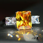 Fashion 925 Silver Yellow Topaz  Birthstone Engagement Wedding Ring Size 6-10