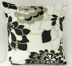 "SINGLE STYLISH RETRO BLACK CREAM BEIGE FLOWERED CUSHION COVER 16"" 18"" 20"" 22"" 24"