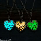 Gift  Gold Plated Hollow Out Luminous Heart Locket Pendant Necklace