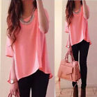 New Women Vest Short Sleeve Shirt Blouse Summer Casual Ladies Loose Tops 6-14 LF