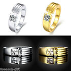 GIFT Square Cubic Zirconia Ring Womens Luxury Gold & Silver Wedding Ring US 8