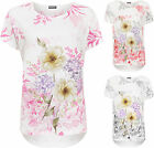 Womens Plus Floral Baggy Top Ladies Print Short Cap Sleeve Crew Neck T-Shirt