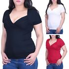 Women's V-Neck Empire Waist Short Sleeve Slimming Stretch Top Blouse T-Shirt