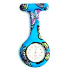 Silicone Nurse Fob Watch BUTTERFLY Pattern Brooch Tunic Watches Set FREE BATTERY