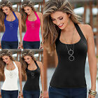 Hot Womens Summer Halter Neck Vest Top Sleeveless Blouse Casual Tops T-Shirt