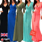 UK Women's V-neck 3/4 Sleeve Wrap Waist Long Maxi Evening Cocktail Party Dress