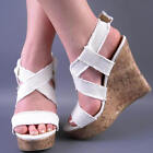 NEW WOMENS WHITE FRAYED CANVAS STRAP HIGH WEDGE HEEL SANDAL