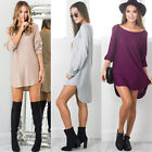 Women Stylish Summer Long Sleeve Loose Casual Long Tops T Shirt Short Mini Dress