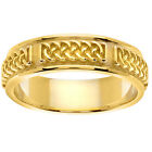 14K Yellow Gold Celtic Irish Wedding Ring Band  6.0 mm (WJR834)