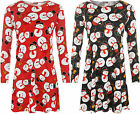 Womens Christmas Xmas Novelty Snowman Print Long Sleeve Top Ladies Swing Dress