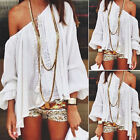 Sexy Women Boho Lace Off Shoulder Long Sleeve Casual T-shirt Tops Blouse New RD