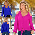 Women's Off Shoulder Top Long Sleeve Jumper Tee Shirt Button Down Blouse Fashion