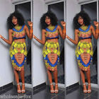 New Sexy Women's 2 Piece Traditional African Print Evenning Party Bodycon Dress