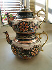 TURKISH TRADITIONAL HANDMADE HANDHAMMERED COPPER TEAPOT SET SEMAVER - LARGE 26CM