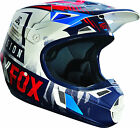 15229-025 Fox Helmet V1 Vicious Blue Wht Youth sized Motorcycle MX ATV Helmet
