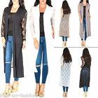 New Womens Long Floral Lace Back Long Sleeves Cardigan Size 12 16