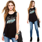 Casual Women Feather Print Black Tank Tops Summer T Shirts Blouse Vest JYL