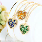 Vintage Gold Plated Hollow Out Luminous Heart Locket Pendant Necklace