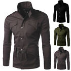 Mens Slim Fit Button Zip High Collar Jacket Coat Military Style Casual Overcoat