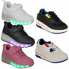 Boys Kids Girls LED Luminous Lights Wheel Roller Skate Lace Up Trainers Shoes
