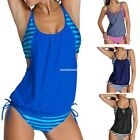 AU Sexy Women Push-up Padded Swimwear Striped Tankini Set Swimsuit EN24H